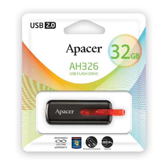 USB Flash Apacer 32Gb AH326 Retail Black