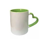 Кружка для сублимации цветная внутри светло-зеленая + ручка сердце
