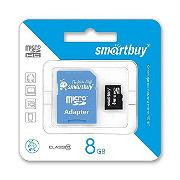 Карта памяти MicroSD Class 10 Smartbuy 8GB Blue Adapter